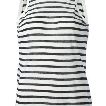 DCCKIN3 T By Alexander Wang striped sleeveless top with a plunging  back
