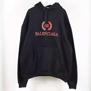 Balenciaga Autumn Winter Popular Women Men Casual Print Hoodie Sweater Pullover Top Sweatshirt Black