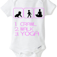 Crawl Walk Yoga - New Baby Gift: Gerber Onesuit brand bodysuit - for a new mom or dad who loves to practice Yoga - now in Preemie sizes!