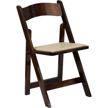Flash Furniture Fruitwood Wood Folding Chair Beige Decor