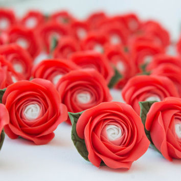 Flowers MAGNETS, Flowers WEDDING FAVORS, rose party favor, red, baby shower favor,  bridal favors, guest favors