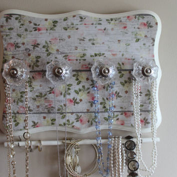 Jewelry organizer, knob necklace holder, decorative plaque, shabby chic