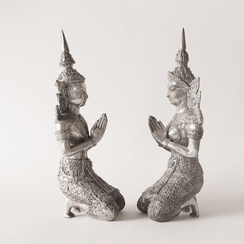 Pair of Silver Male & Female Kneeling Teppanom Mythology Angels / Guardians. Thai Buddhist Statues.