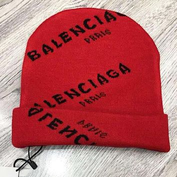 BALENCIAGA Classic Popular Women Men Casual Jacquard Knit Hat Cap Red