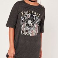Missguided - Plus Size Band T Shirt Dress Grey