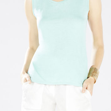 Blue BCBG Halie Sleeveless Twist Back Top