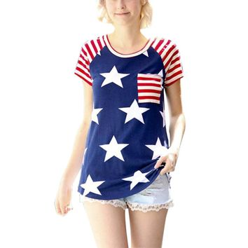 Women's American Flag Stars and Stripes Patterned Tops
