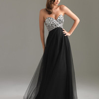Black Beautiful Reflection Strapless Lace Up Empire Waist Prom Gown - Unique Vintage - Cocktail, Evening, Pinup Dresses
