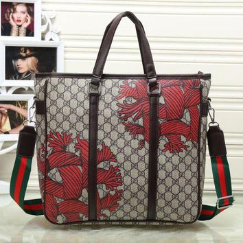 GUCCI Men Leather Satchel Shoulder Bag Crossbody