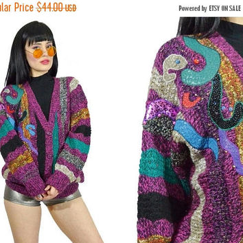 25%SALE vintage 90s striped sweater rainbow embroidered pastel soft grunge beaded 1980s grandpa sweater slouchy cardigan jacket knit boho sm
