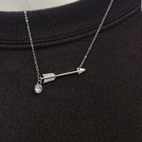 Delicate Arrow and CZ Crystal 3ct Brilliant Cut Necklace - Dainty Necklace - Cupid Arrow - Bow and Arrow - MidnightM  Girlfriend Gift Urban