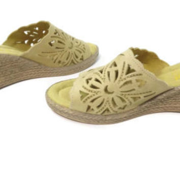 SPRING STEP womens light OLIVE Green Shoes Mules Wedge Slides Size 35 EU ITALY