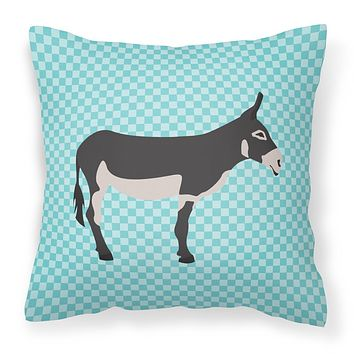 American Mammoth Jack Donkey Blue Check Fabric Decorative Pillow BB8018PW1414