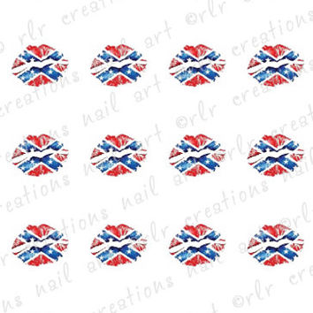 20 REBEL FLAG Lipstick KISS Water Slide Nail Art Decals Country Nail Art Designs