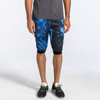 Elwood Galaxy Mens Jogger Shorts Black/Blue  In Sizes