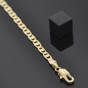 Gold Layered Fancy Necklace, Pave Mariner Design, Golden Tone