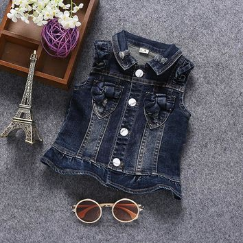 0-3T Baby Jeans Vest Babe Cotton Stretcy Jeans Jacket Denim Outerwear Toddler Clothing Spring Autumn Clothes Kids Vest Tops