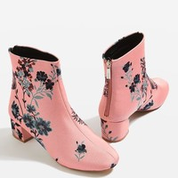 BLOOMING Floral Ankle Boots - Shoes