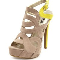 Caged Velvet Color Block Sandal: Charlotte Russe