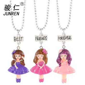"3 pcs/set little girl Necklace ""Best, Friend, Forever"" Lovely Heart Friendship Creative BFF Keepsake birthday Gift"