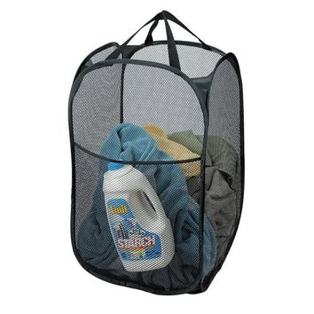 Retail Nylon Mesh Fabric Foldable Large Laundry Basket Household Dirty Clothes Bag Washing Child Toy Storage Organization