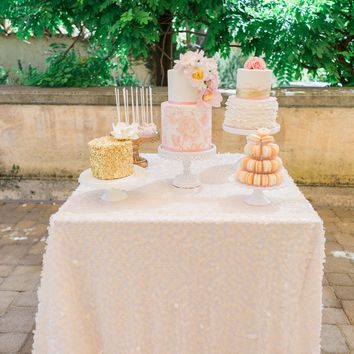 Ivory Sequin Tablecloth | Gorgeous Wedding Cake Table Ideas