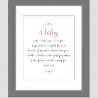 Nursery Art Print A Baby Will Make Love Stronger Poster Baby Girl Pink Gray Kids Room Nursery Wall Art 8x10 Wall Decor Premium Print