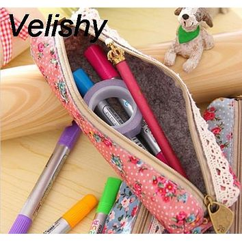 Velishy 1PC Mini Zipper Pouch Purse Cosmetic Makeup Make Up Bag Fashion Retro Flower Floral Lace Pencil Shape Pen Case