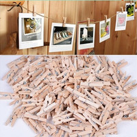 50PCS New 50x25MM Mini Natural Wooden Clothe Photo Paper Peg Clothespin Craft Clips [7983553735]