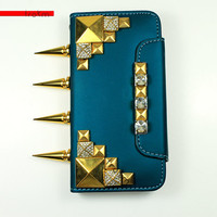 iPhone 5C deep metallic teal gold diamond pyramid studded wallet phone case with rhinestone flap and long knuckle spike option