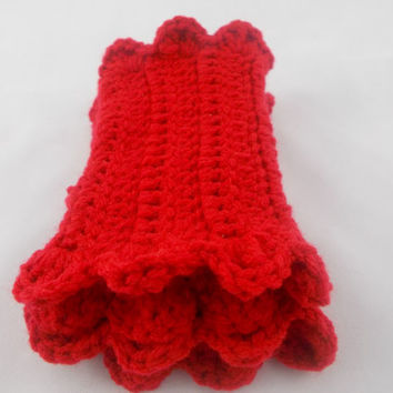 Red - Hand Crochet Fingerless Gloves