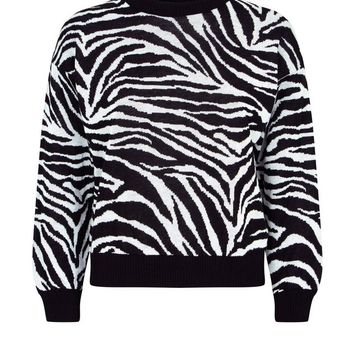 Black Zebra Print Jumper | New Look