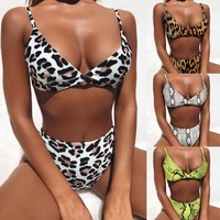 New Bikinis 2019 Snake skin and leopard print Bikini Push Up Swimsuit Women swimwear Padded bathing Suit Sexy Thong Biquini