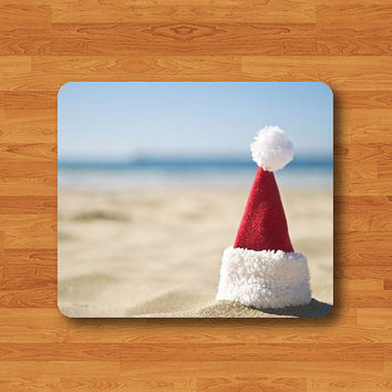 Sun Sand Beach Red Christmas Hat Personalized Mouse Pad Unique Mat Wood Pattern Help Desk Deco Rubber Gift
