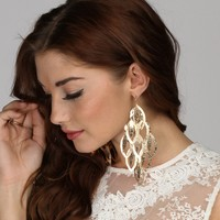 Gold Textured Chandelier Earring