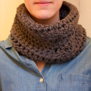 Gray Crochet Neck Warmer Grey Soft and Snug Chunky Cowl Scarf