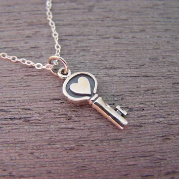 Skeleton Key - Heart Key - Sterling Silver Necklace Simple Jewelry Everyday Necklace / Gift for Her