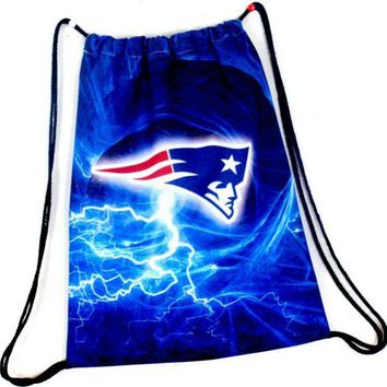 DCCKH6B New England Patriots Drawstring Bags Men Backpack Digital Printing Pouch Customize Bags 35*45cm Sports Fan Flag