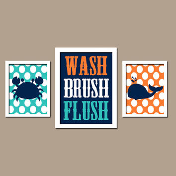 Nautical Sea Ocean Animal Whale Crab Wash Brush Flush Polka Dots
