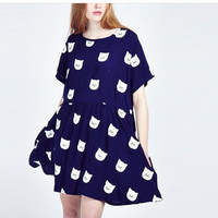 Cat Print Short-Sleeve Dress With Pocket