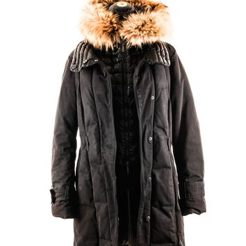 Moncler Black Parka with Fur Trimmed Hood