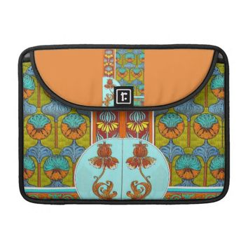 Art nouveau orange and turquoise floral mac book MacBook pro sleeve