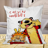 "Calvin And Hobbes Funny Face on square pillow cover 16"" 18"" 20"""