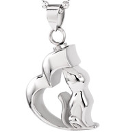 Cat Heart Pet Cremation Pendant Necklace
