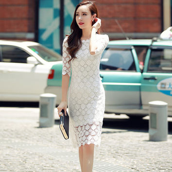 real photo high quality 2016 summer fashion cute embroidery half sleeve wave backless white SML woman's Casual sheath dress