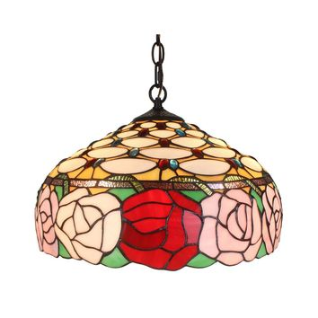 Hanging Lamp 2 Light Roses Amora Lighting hand cut pieces of stained glass
