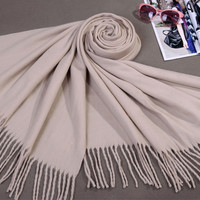 Hot Sale Beige Winter Women's Faux Cashmere Shawl Scarf Bufandas Mujer Thick Warm chal Wrap Thick Warm Muffler Solid Color C-011