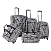 American Flyer Luggage, Brick Wall 5-pc. Expandable Spinner Luggage Set (Black)