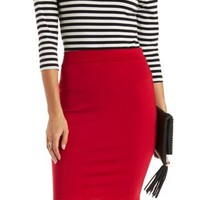 Red Bodycon High-Waisted Pencil Skirt by Charlotte Russe