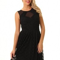 JD299 stunning little black lace skater dress pleated bottom